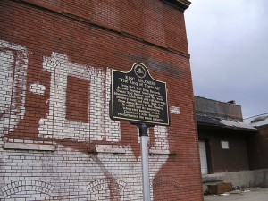 Historical marker at former site of King Records